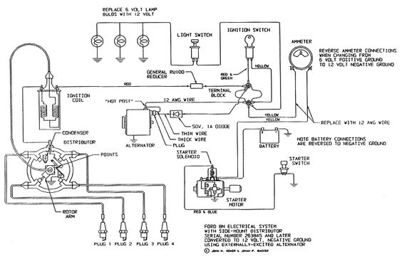 1944 2n Ford Tractor Wiring Diagram For Conversion To 12 Volt