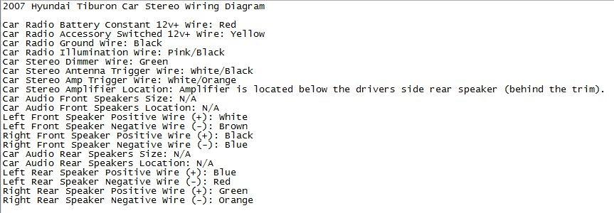 2004 Hyundai Tiburon Gt Stereo Wiring Diagram Infinity