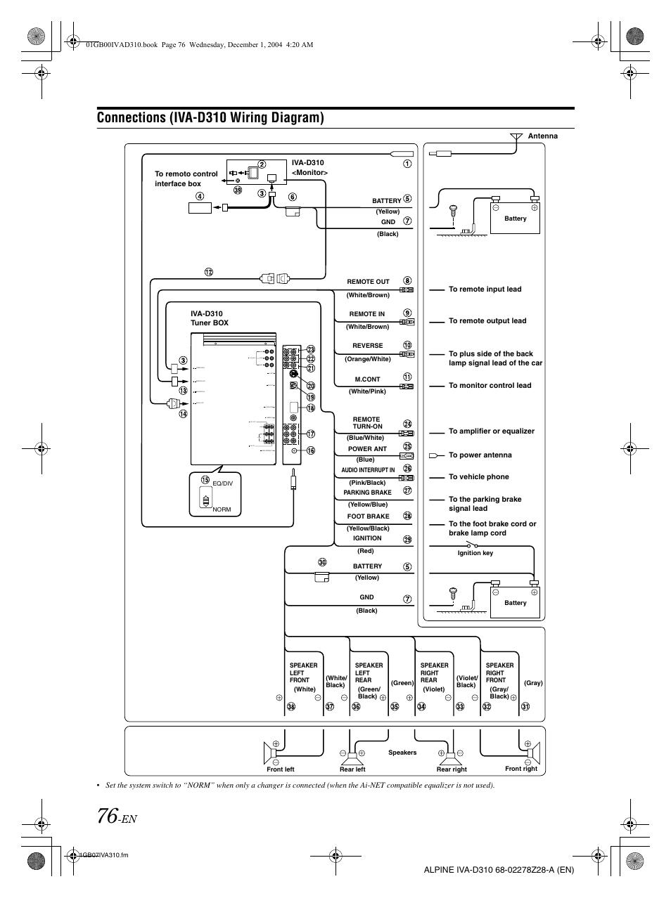 Alpine Era G320 Wiring Diagram
