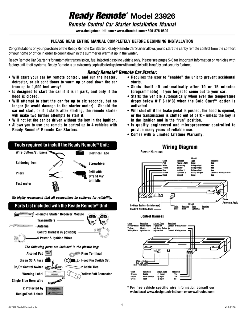 Avital Remote Start Wiring Diagram