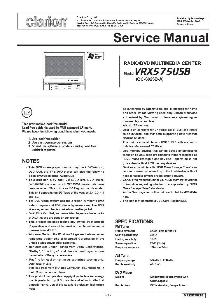 Clarion Vz409 Wiring Diagram