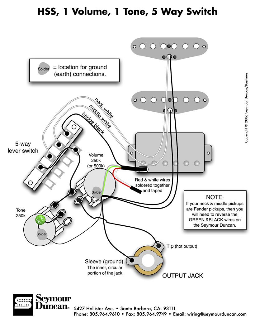 Dimarzio X2 Blade Single Pickup Wiring Diagram