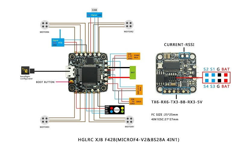 Hglrc Xjb F425 Flytower F4 Flight Controller Wiring Diagram