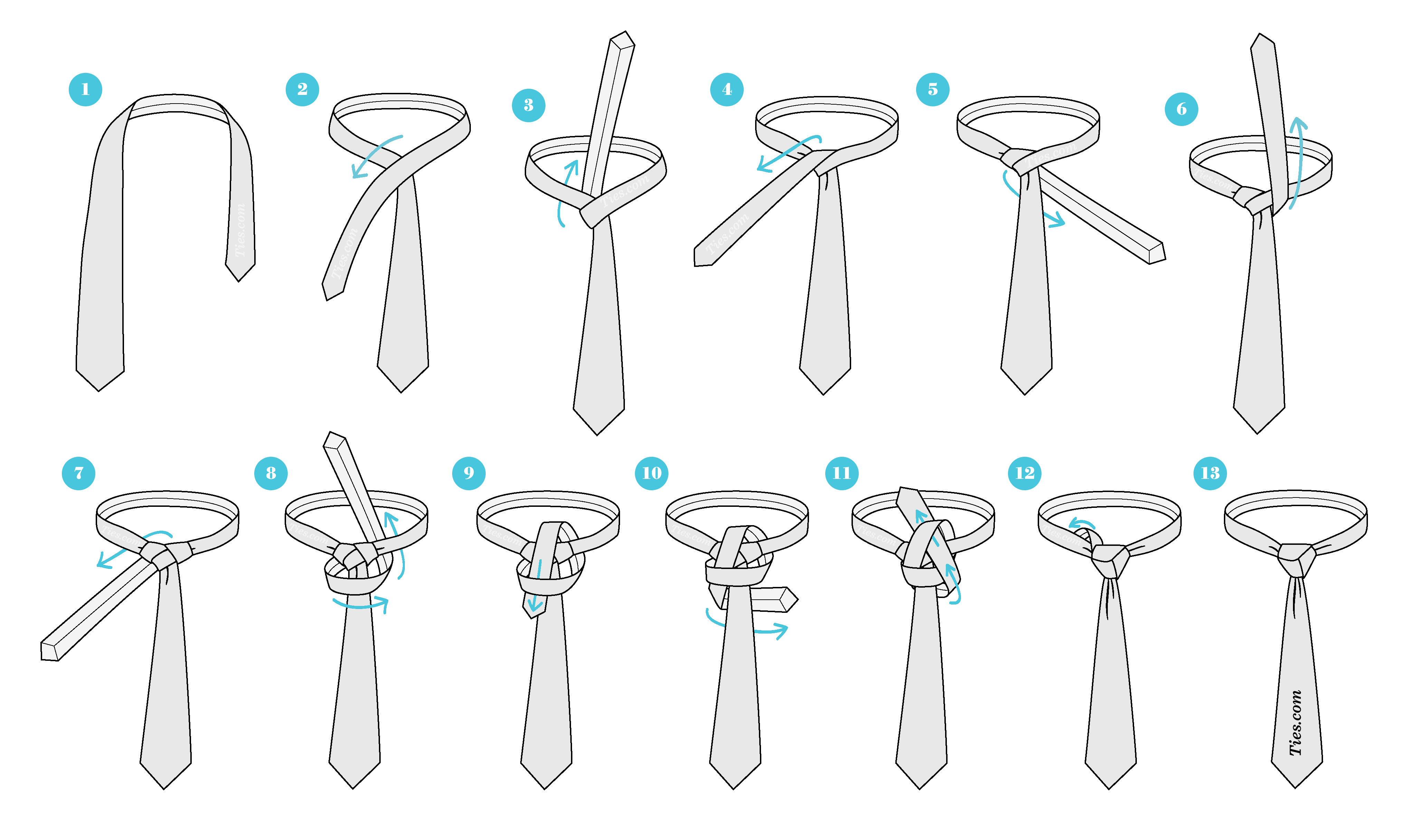 How To Tie A Double Windsor Knot Diagram