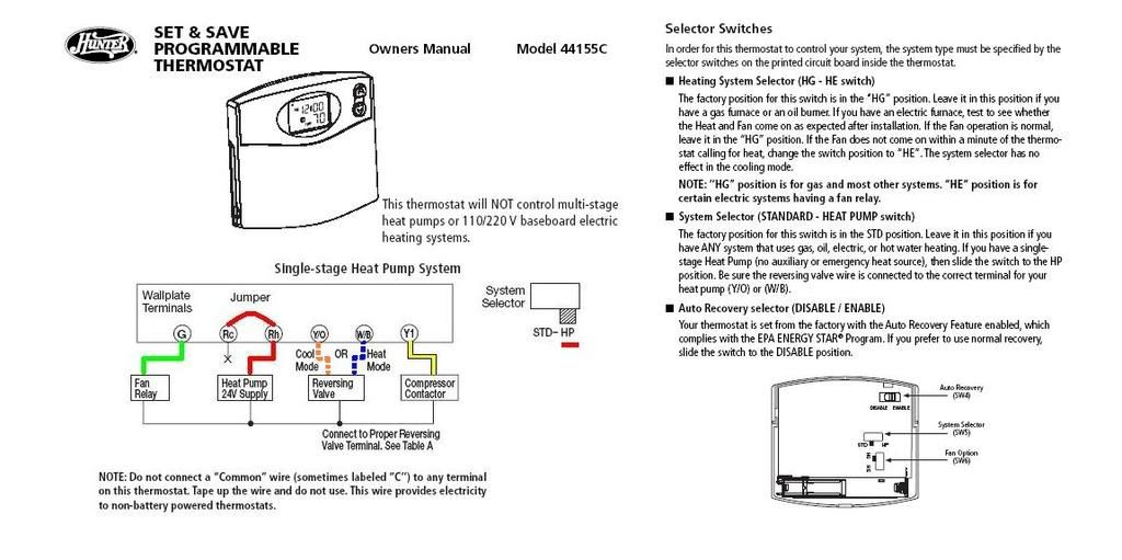 Hunter Thermostat Wiring Diagram from wiringall.com