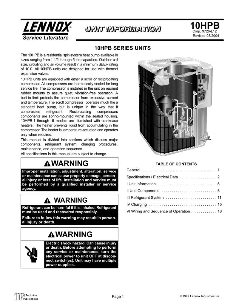 Lennox Condensing Unit Wiring Diagram Model 10hpb42