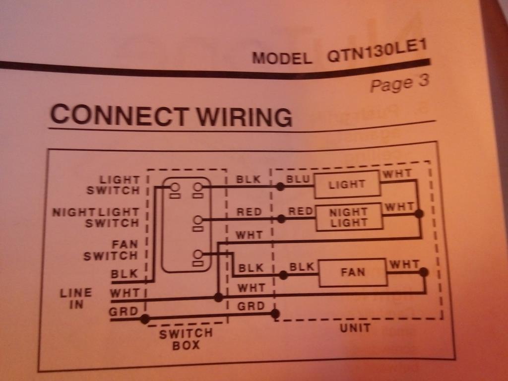 Nutone Bathroom Fan Wiring Diagram