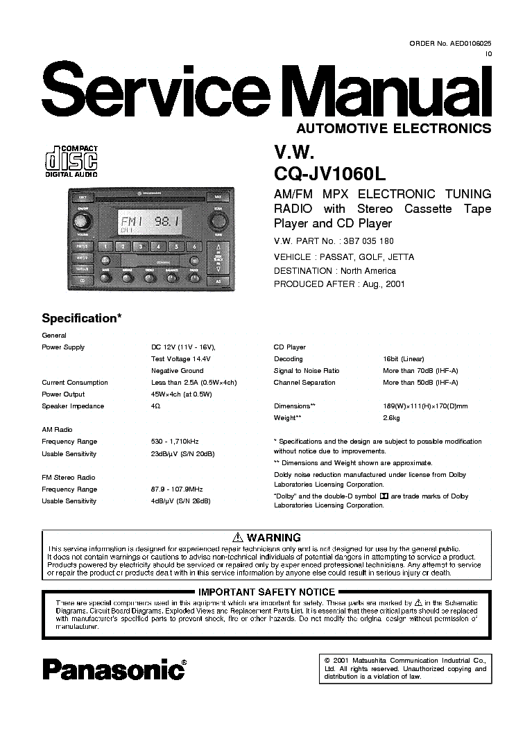 Panasonic Cq C1301U Wiring Diagram from wiringall.com