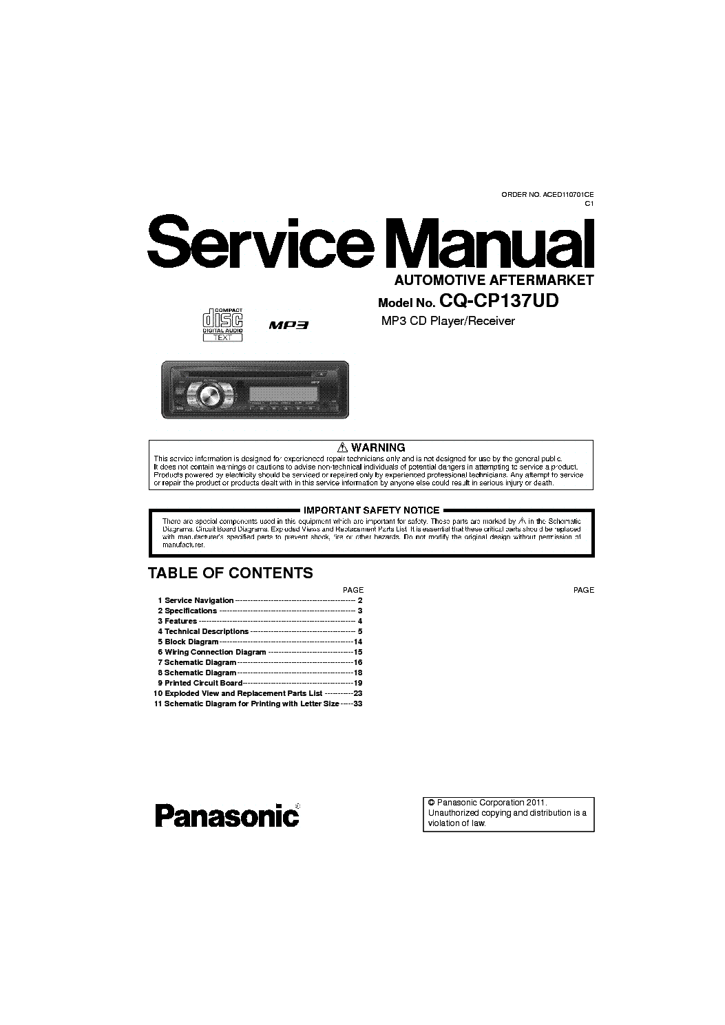 Panasonic Cq Cp134u Wiring Diagram
