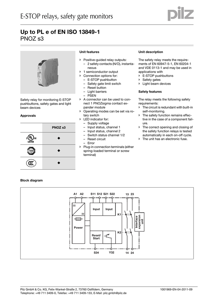 Pilz Pnoz X3 Safety Relay Wiring Diagram