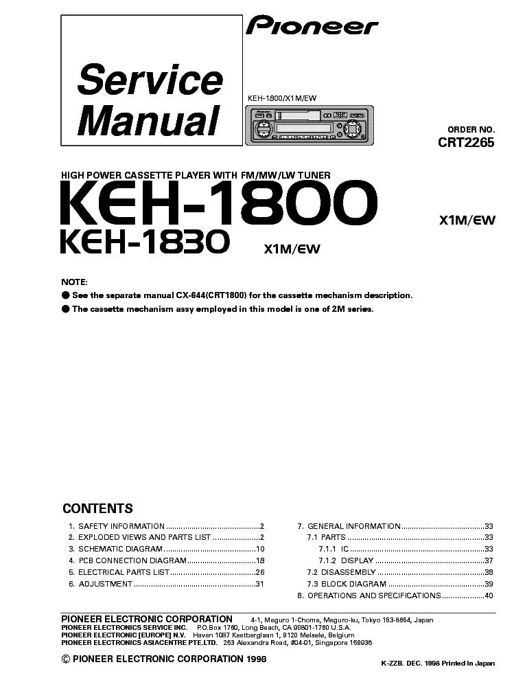 Pioneer Deh 1800 Wiring Diagram