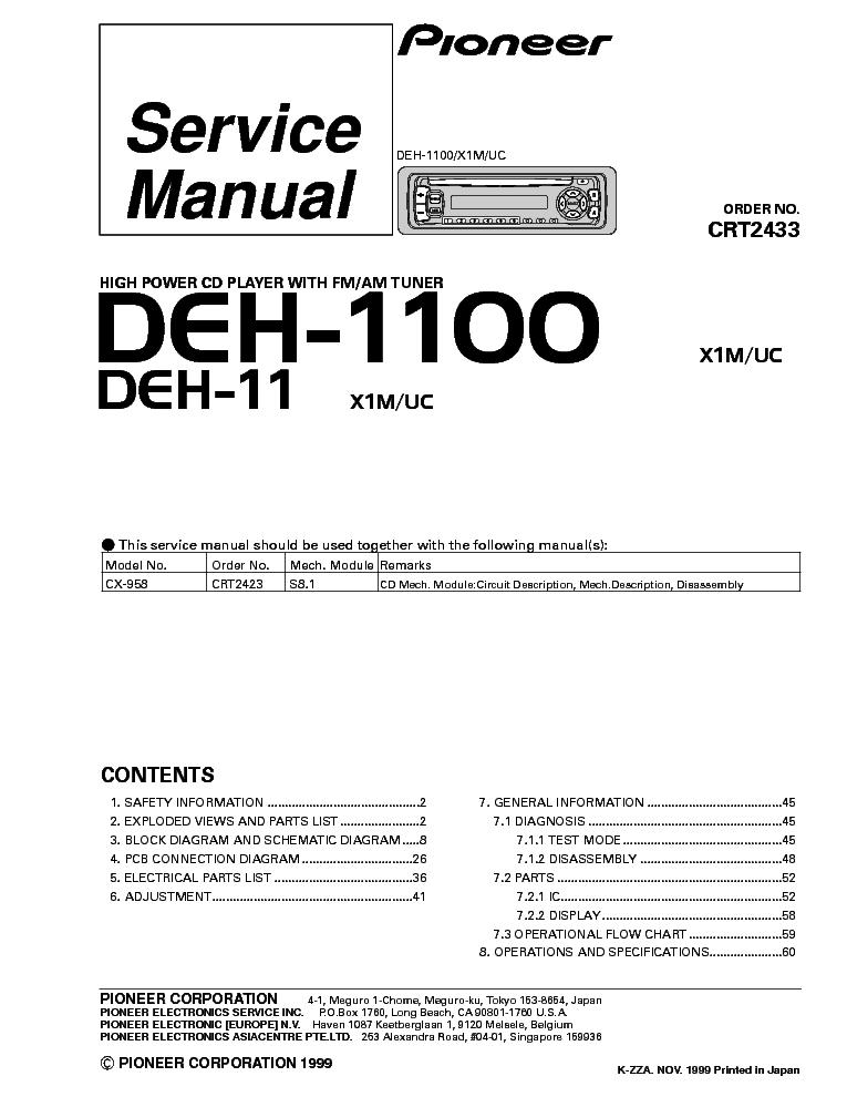 Pioneer Deh 245 Wiring Diagram Pioneer Circuit Diagrams