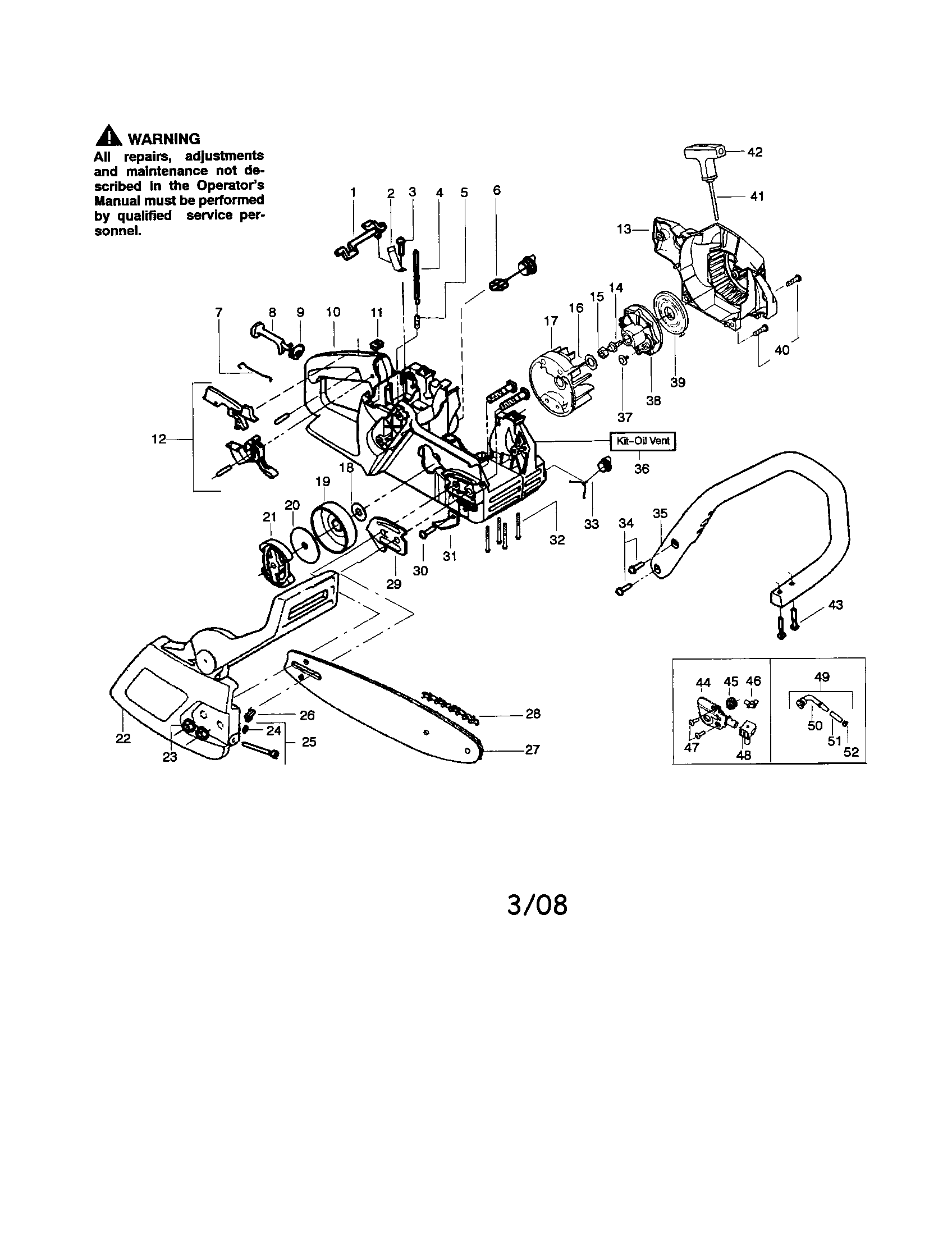 poulan pro 260 parts diagram