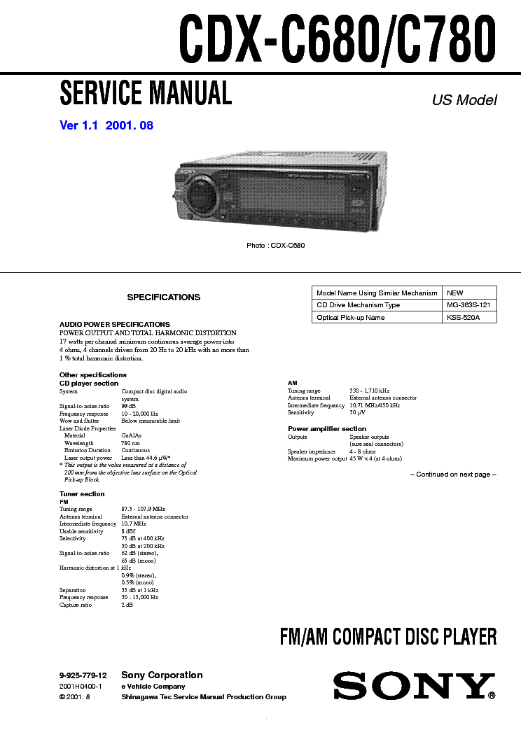 Sony Cdx Gt270mp Wiring Diagram