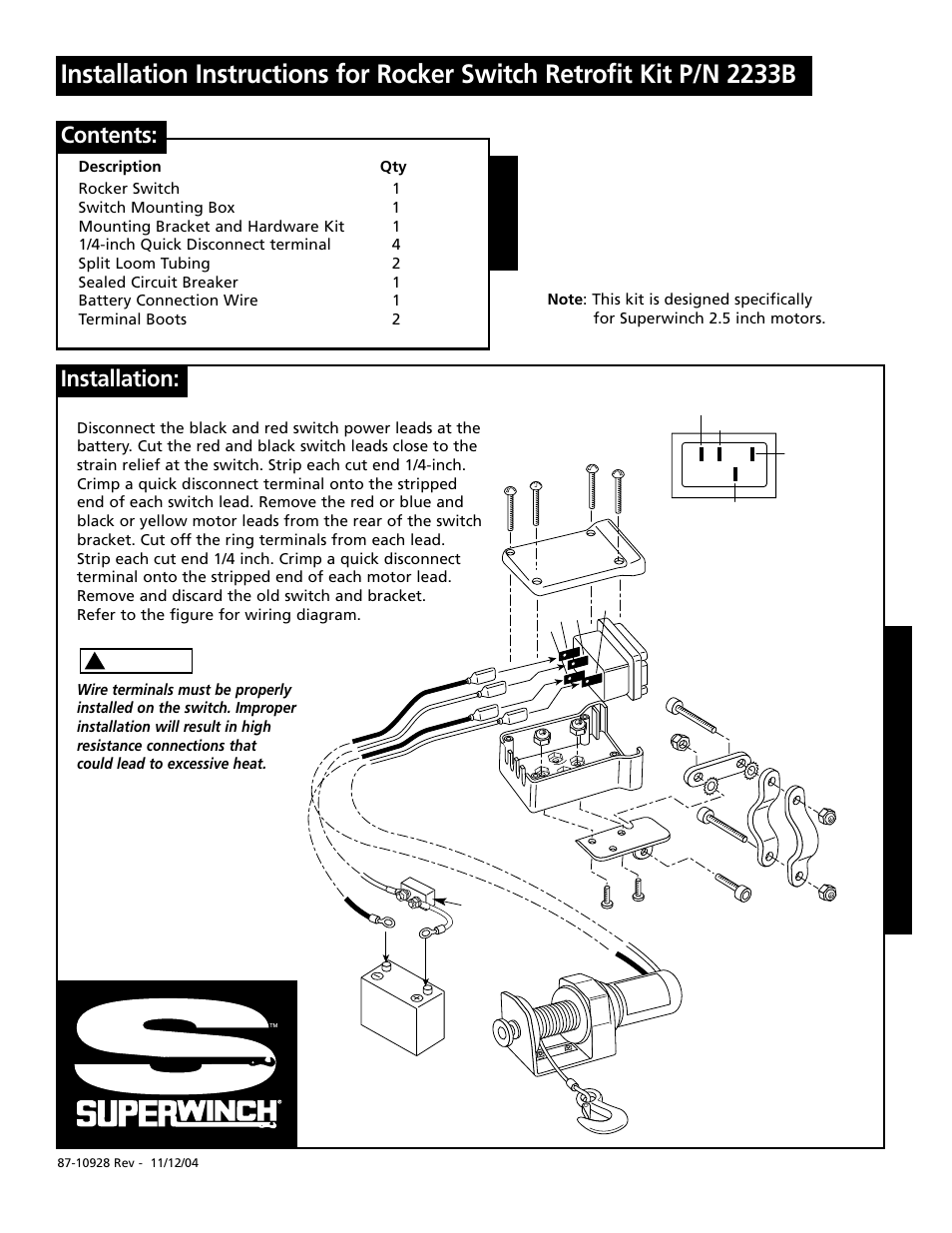 Superwinch Terra 25 Wiring Diagram