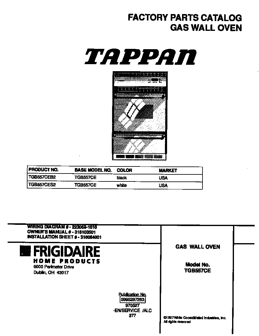 Tappan Double Gas Oven Wiring Diagram
