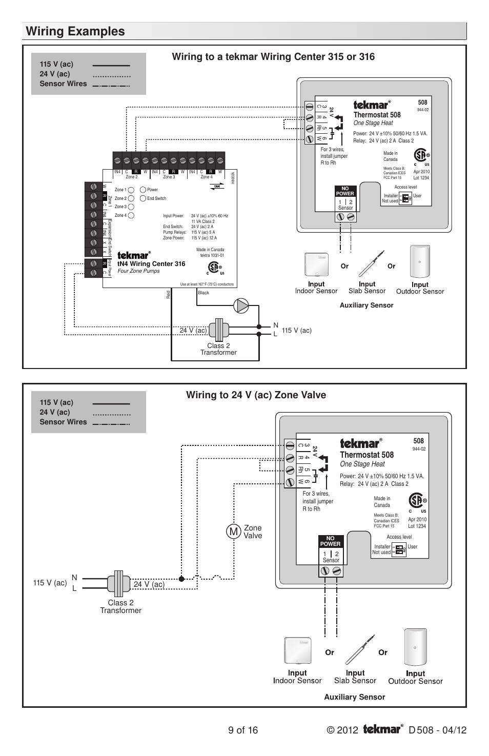Tekmar 256 Wiring Diagram