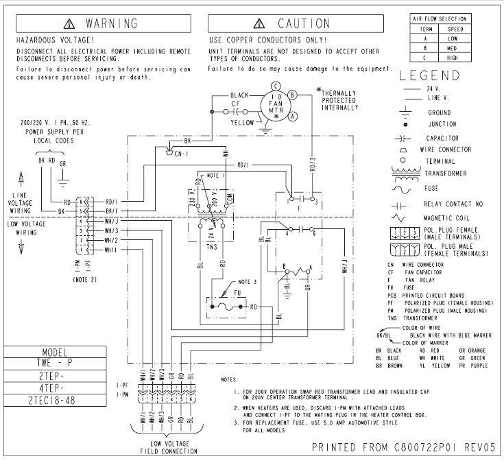 Trane Central Air Conditioner Model Btb730a100a1 Wiring Diagram