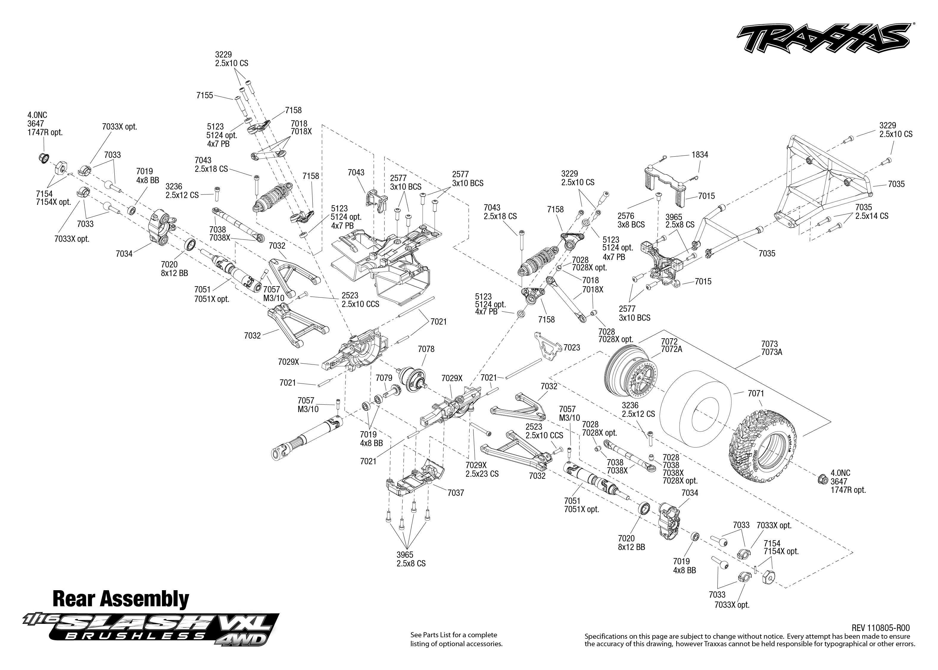 traxxas slash 4x4 ultimate parts diagram