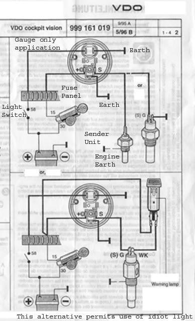 Vdo Temperature Gauge Wiring Diagram