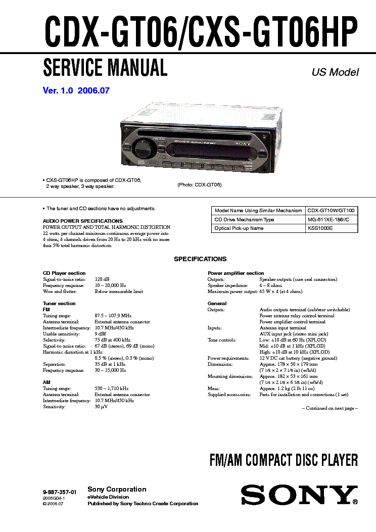 Wiring Diagram For Sony Radio Cdx